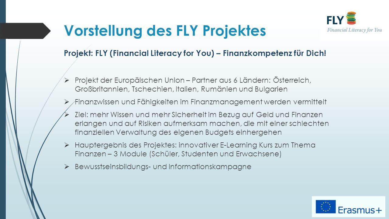 Vorstellung des FLY Projektes Projekt: FLY (Financial Literacy for You) – Finanzkompetenz für Dich.