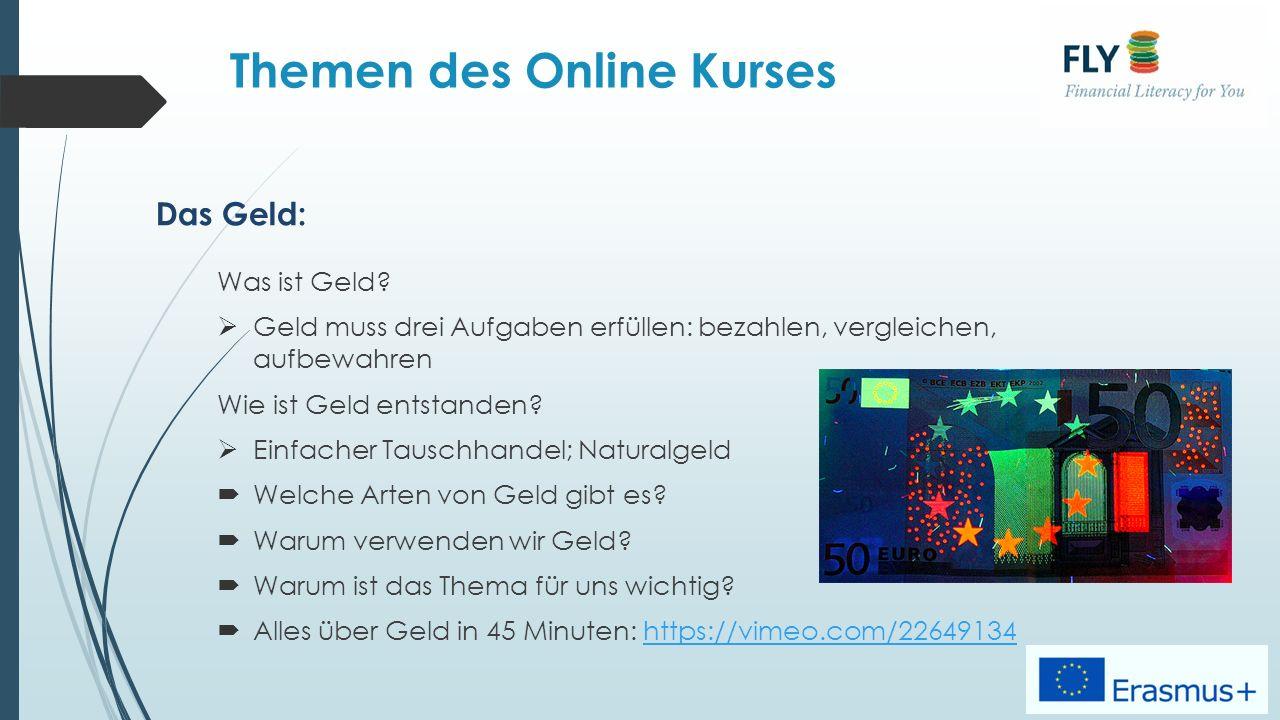Themen des Online Kurses Das Geld: Was ist Geld.