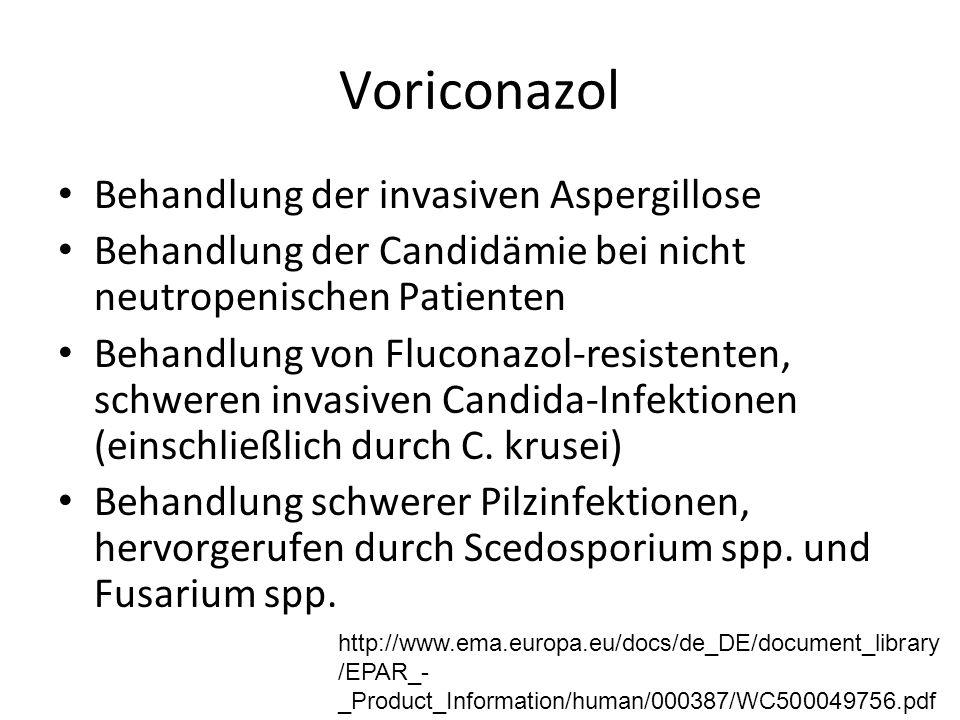 Voriconazol Behandlung der invasiven Aspergillose Behandlung der Candidämie bei nicht neutropenischen Patienten Behandlung von Fluconazol-resistenten, schweren invasiven Candida-Infektionen (einschließlich durch C.