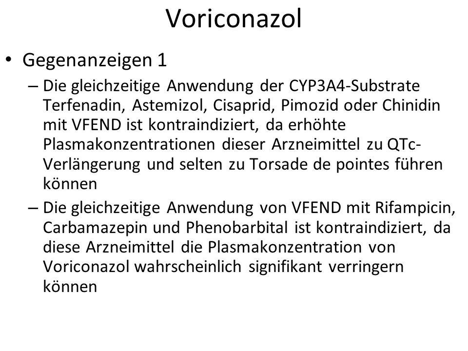 Voriconazol Gegenanzeigen 1 – Die gleichzeitige Anwendung der CYP3A4-Substrate Terfenadin, Astemizol, Cisaprid, Pimozid oder Chinidin mit VFEND ist ko
