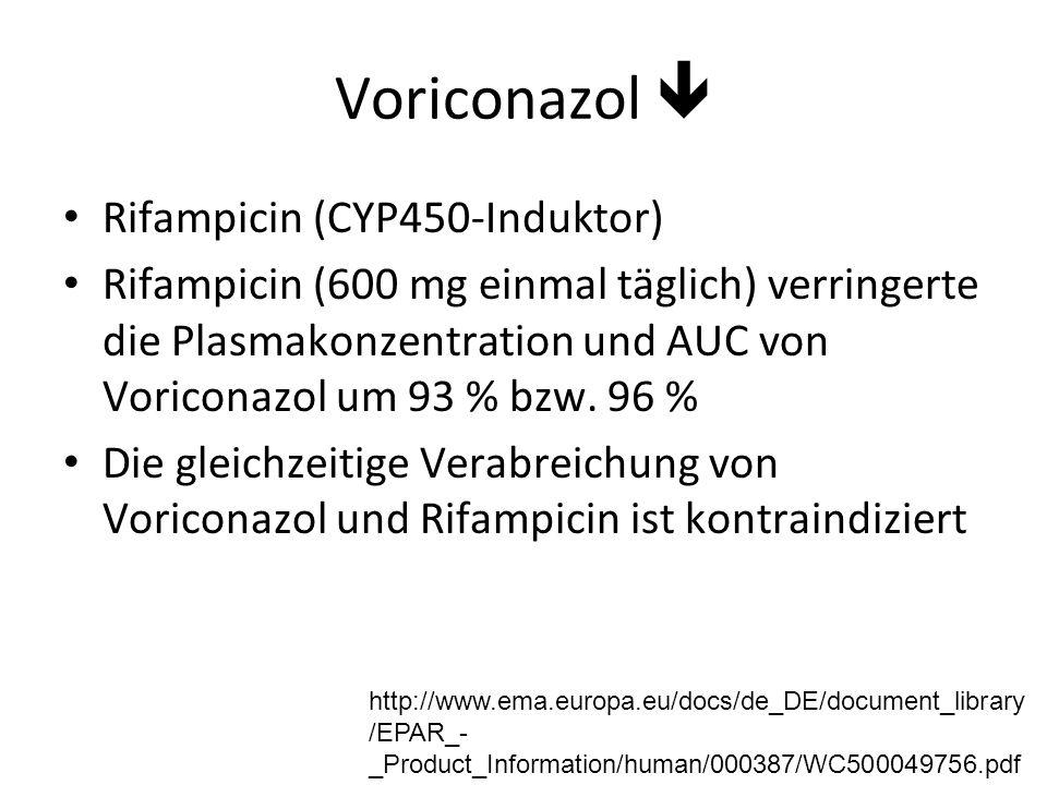 Voriconazol  Rifampicin (CYP450-Induktor) Rifampicin (600 mg einmal täglich) verringerte die Plasmakonzentration und AUC von Voriconazol um 93 % bzw.