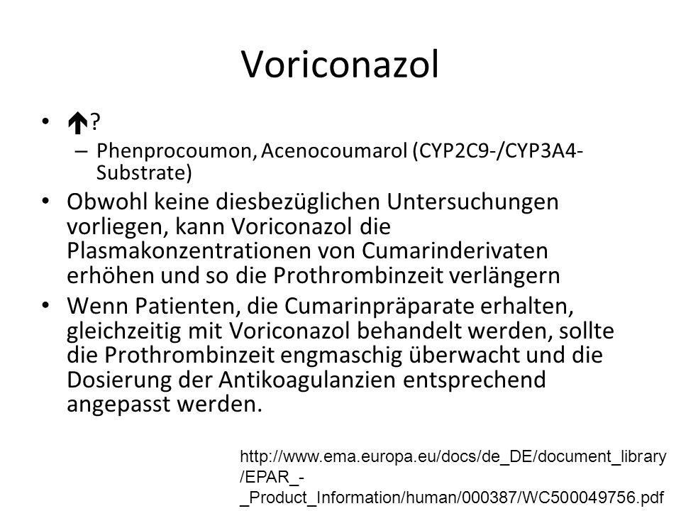 Voriconazol  ? – Phenprocoumon, Acenocoumarol (CYP2C9-/CYP3A4- Substrate) Obwohl keine diesbezüglichen Untersuchungen vorliegen, kann Voriconazol die
