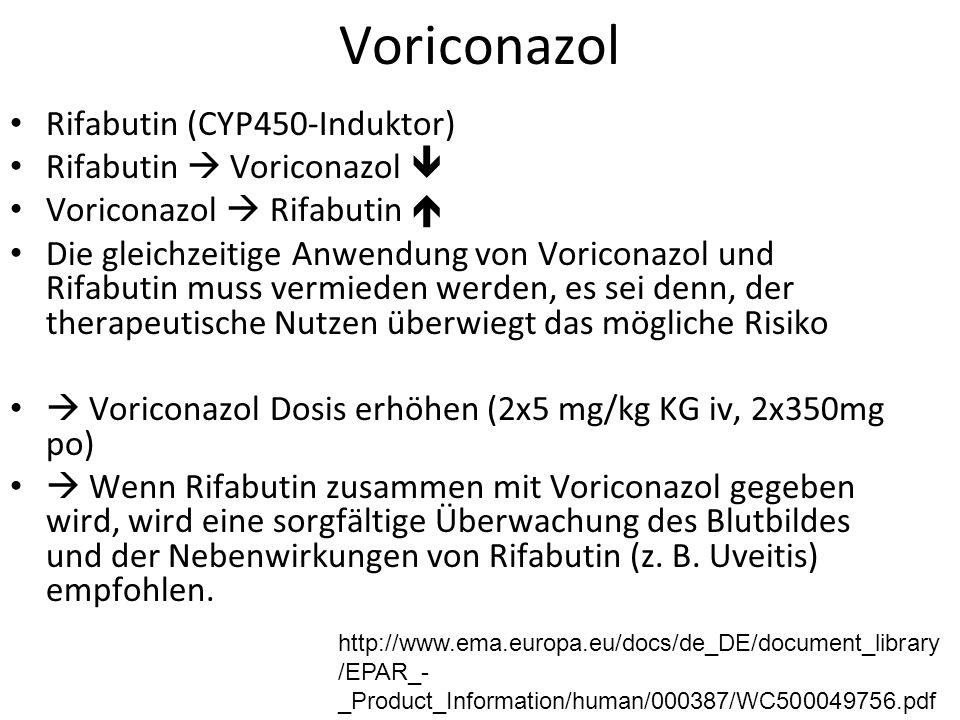 Voriconazol Rifabutin (CYP450-Induktor) Rifabutin  Voriconazol  Voriconazol  Rifabutin  Die gleichzeitige Anwendung von Voriconazol und Rifabutin muss vermieden werden, es sei denn, der therapeutische Nutzen überwiegt das mögliche Risiko  Voriconazol Dosis erhöhen (2x5 mg/kg KG iv, 2x350mg po)  Wenn Rifabutin zusammen mit Voriconazol gegeben wird, wird eine sorgfältige Überwachung des Blutbildes und der Nebenwirkungen von Rifabutin (z.