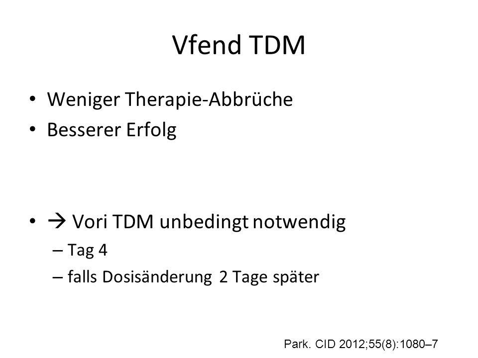 Vfend TDM Weniger Therapie-Abbrüche Besserer Erfolg  Vori TDM unbedingt notwendig – Tag 4 – falls Dosisänderung 2 Tage später Park. CID 2012;55(8):10