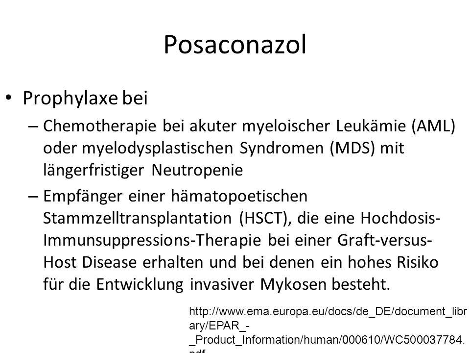 Posaconazol Prophylaxe bei – Chemotherapie bei akuter myeloischer Leukämie (AML) oder myelodysplastischen Syndromen (MDS) mit längerfristiger Neutropenie – Empfänger einer hämatopoetischen Stammzelltransplantation (HSCT), die eine Hochdosis- Immunsuppressions-Therapie bei einer Graft-versus- Host Disease erhalten und bei denen ein hohes Risiko für die Entwicklung invasiver Mykosen besteht.