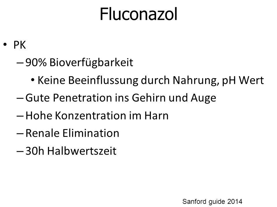 Fluconazol PK – 90% Bioverfügbarkeit Keine Beeinflussung durch Nahrung, pH Wert – Gute Penetration ins Gehirn und Auge – Hohe Konzentration im Harn – Renale Elimination – 30h Halbwertszeit Sanford guide 2014
