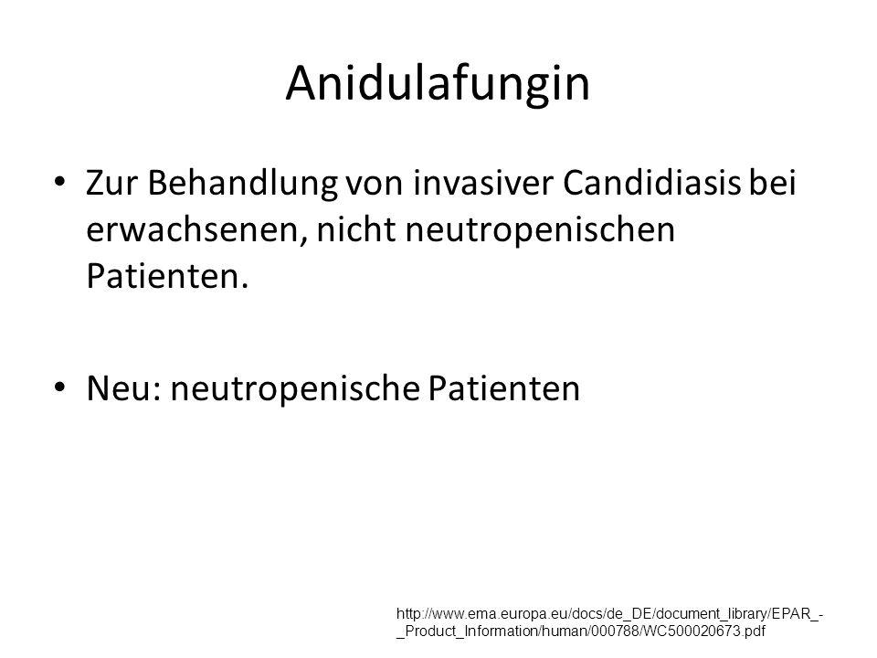 Anidulafungin Zur Behandlung von invasiver Candidiasis bei erwachsenen, nicht neutropenischen Patienten. Neu: neutropenische Patienten http://www.ema.