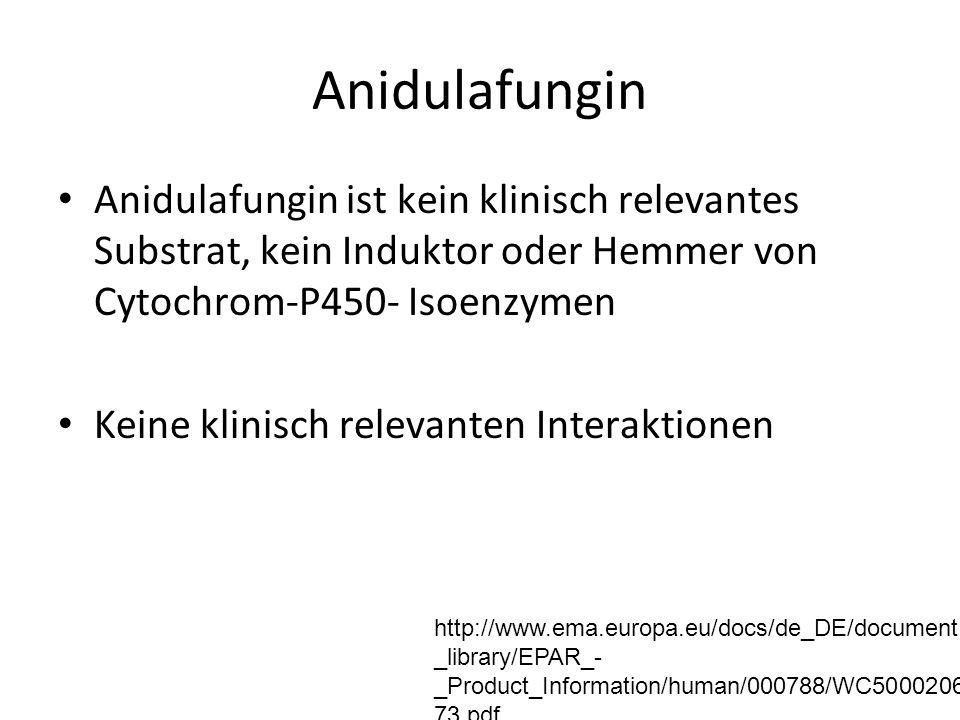Anidulafungin Anidulafungin ist kein klinisch relevantes Substrat, kein Induktor oder Hemmer von Cytochrom-P450- Isoenzymen Keine klinisch relevanten