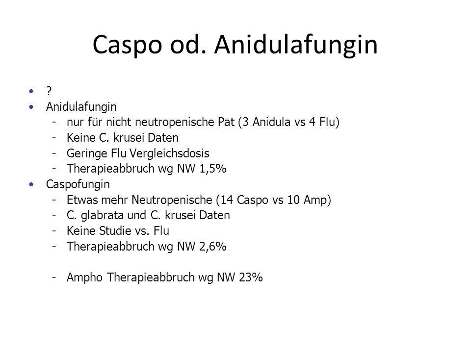 Caspo od. Anidulafungin ? Anidulafungin -nur für nicht neutropenische Pat (3 Anidula vs 4 Flu) -Keine C. krusei Daten -Geringe Flu Vergleichsdosis -Th
