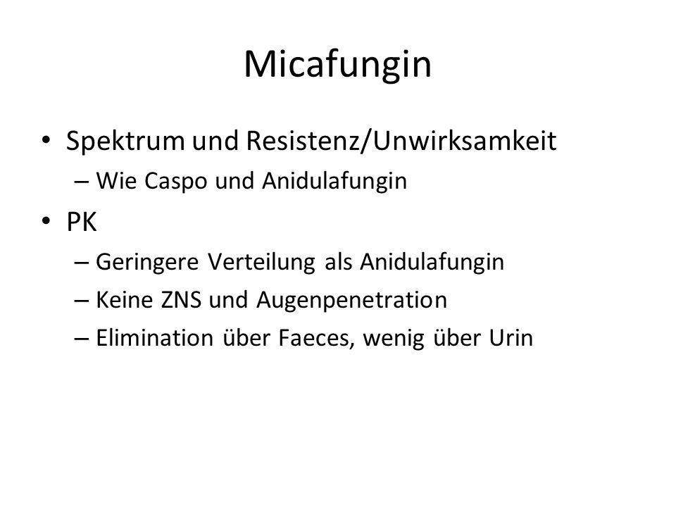 Micafungin Spektrum und Resistenz/Unwirksamkeit – Wie Caspo und Anidulafungin PK – Geringere Verteilung als Anidulafungin – Keine ZNS und Augenpenetration – Elimination über Faeces, wenig über Urin