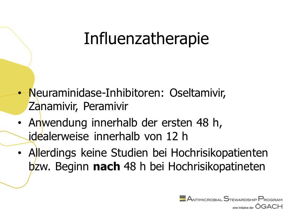 Influenzatherapie Neuraminidase-Inhibitoren: Oseltamivir, Zanamivir, Peramivir Anwendung innerhalb der ersten 48 h, idealerweise innerhalb von 12 h Allerdings keine Studien bei Hochrisikopatienten bzw.