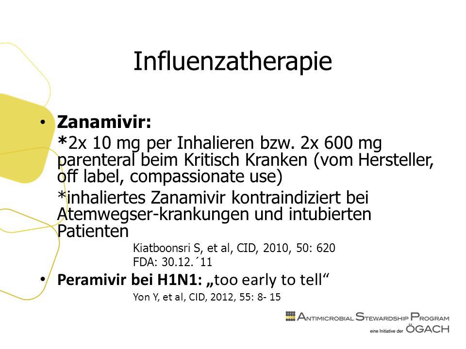Influenzatherapie Zanamivir: *2x 10 mg per Inhalieren bzw.