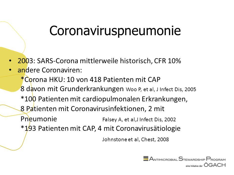 Coronaviruspneumonie 2003: SARS-Corona mittlerweile historisch, CFR 10% andere Coronaviren: *Corona HKU: 10 von 418 Patienten mit CAP 8 davon mit Grunderkrankungen Woo P, et al, J Infect Dis, 2005 *100 Patienten mit cardiopulmonalen Erkrankungen, 8 Patienten mit Coronavirusinfektionen, 2 mit Pneumonie Falsey A, et al,J Infect Dis, 2002 *193 Patienten mit CAP, 4 mit Coronavirusätiologie Johnstone et al, Chest, 2008