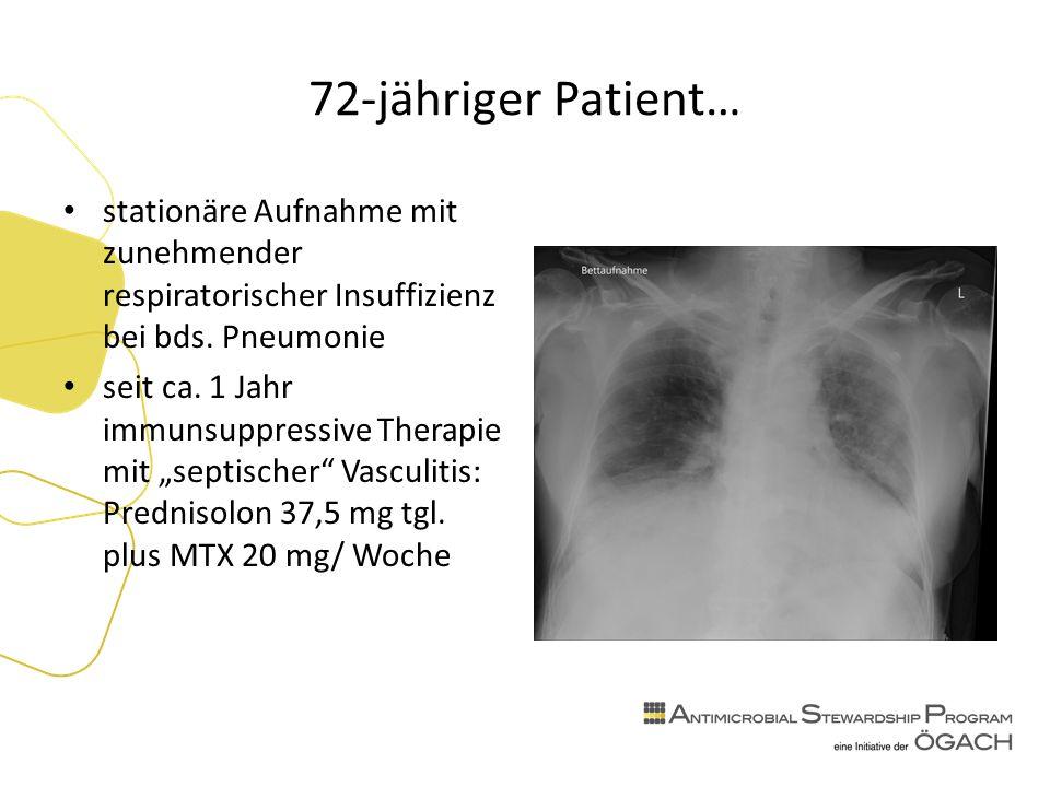 72-jähriger Patient… stationäre Aufnahme mit zunehmender respiratorischer Insuffizienz bei bds.