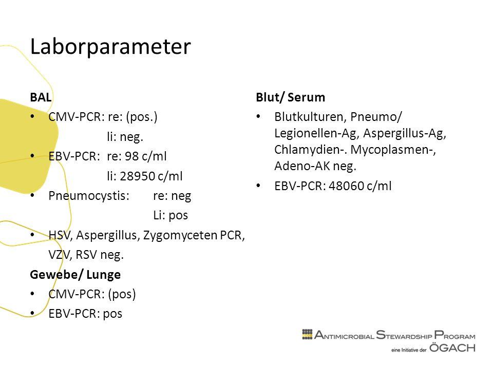 Laborparameter BAL CMV-PCR: re: (pos.) li: neg.