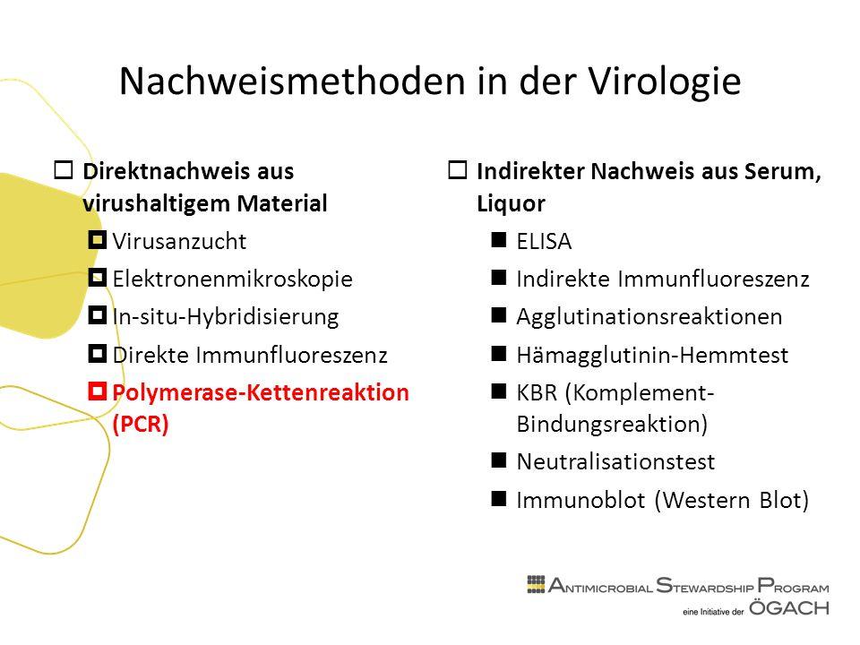 Nachweismethoden in der Virologie  Direktnachweis aus virushaltigem Material  Virusanzucht  Elektronenmikroskopie  In-situ-Hybridisierung  Direkte Immunfluoreszenz  Polymerase-Kettenreaktion (PCR)  Indirekter Nachweis aus Serum, Liquor ELISA Indirekte Immunfluoreszenz Agglutinationsreaktionen Hämagglutinin-Hemmtest KBR (Komplement- Bindungsreaktion) Neutralisationstest Immunoblot (Western Blot)