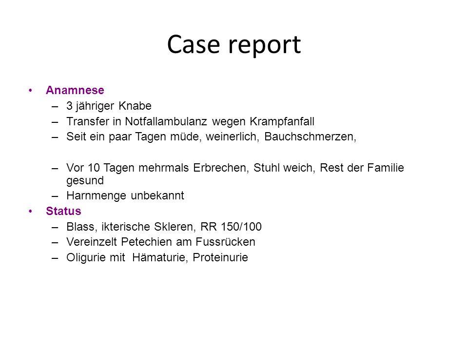 Labor –Kreatinin 398 umol/L, (4,5 mg/dl) –CRP 3,6 mg/dl –LDH 3500 U/l –Hämoglobin 6,8 g/dl –Leukozyten 16.000/ul –Thrombozyten 60.000/ul –GOT 300 U/L, GPT 280 U/L –Bilirubin 4,6 mg/dl –Fragmentozyen im Blutausstrich Case report