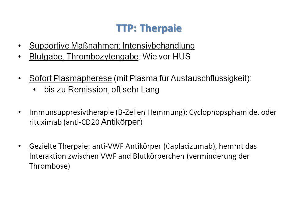 TTP: Therpaie Supportive Maßnahmen: Intensivbehandlung Blutgabe, Thrombozytengabe: Wie vor HUS Sofort Plasmapherese (mit Plasma für Austauschflüssigke
