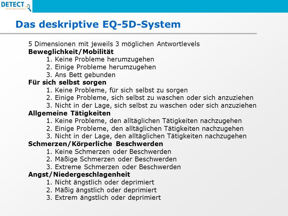 Das deskriptive EQ-5D-System 5 Dimensionen mit jeweils 3 möglichen Antwortlevels Beweglichkeit/Mobilität 1.