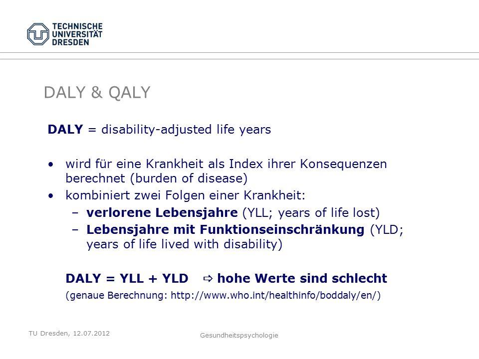 TU Dresden, 12.07.2012 Gesundheitspsychologie DALY & QALY DALY = disability-adjusted life years wird für eine Krankheit als Index ihrer Konsequenzen berechnet (burden of disease) kombiniert zwei Folgen einer Krankheit: –verlorene Lebensjahre (YLL; years of life lost) –Lebensjahre mit Funktionseinschränkung (YLD; years of life lived with disability) DALY = YLL + YLD  hohe Werte sind schlecht (genaue Berechnung: http://www.who.int/healthinfo/boddaly/en/)