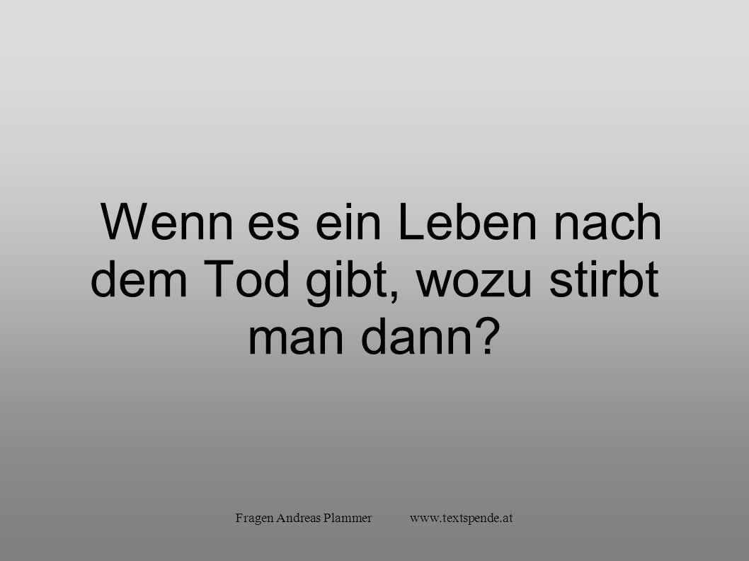 Fragen Andreas Plammer www.textspende.at Wenn es ein Leben nach dem Tod gibt, wozu stirbt man dann