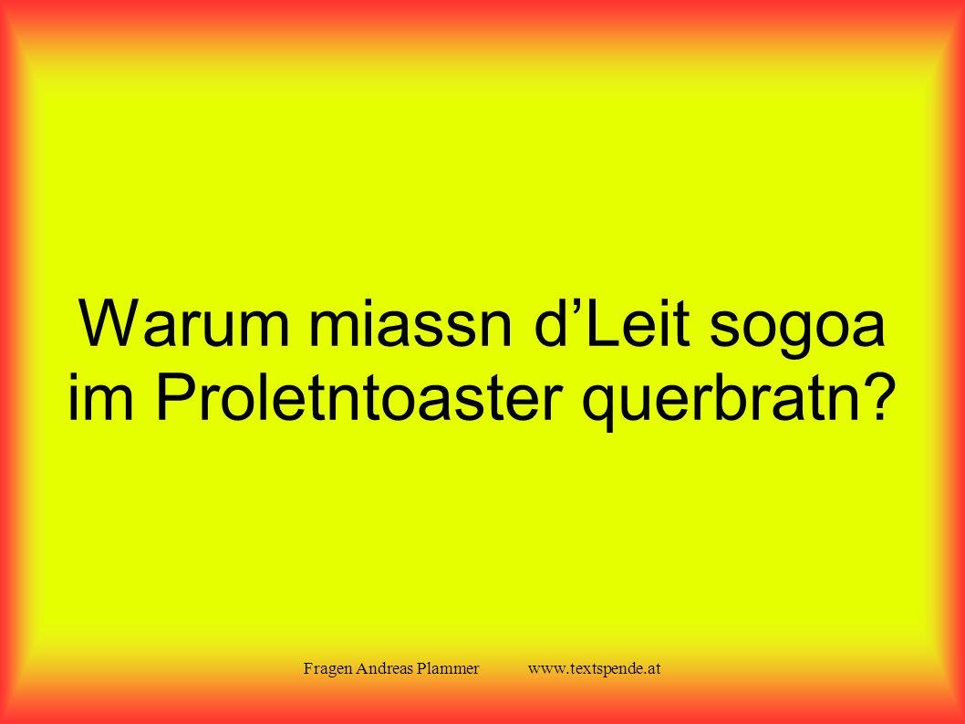 Fragen Andreas Plammer www.textspende.at Warum miassn d'Leit sogoa im Proletntoaster querbratn