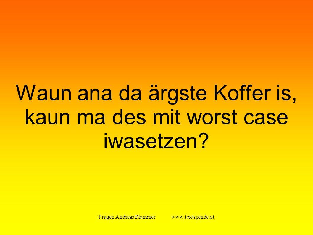 Fragen Andreas Plammer www.textspende.at Waun ana da ärgste Koffer is, kaun ma des mit worst case iwasetzen