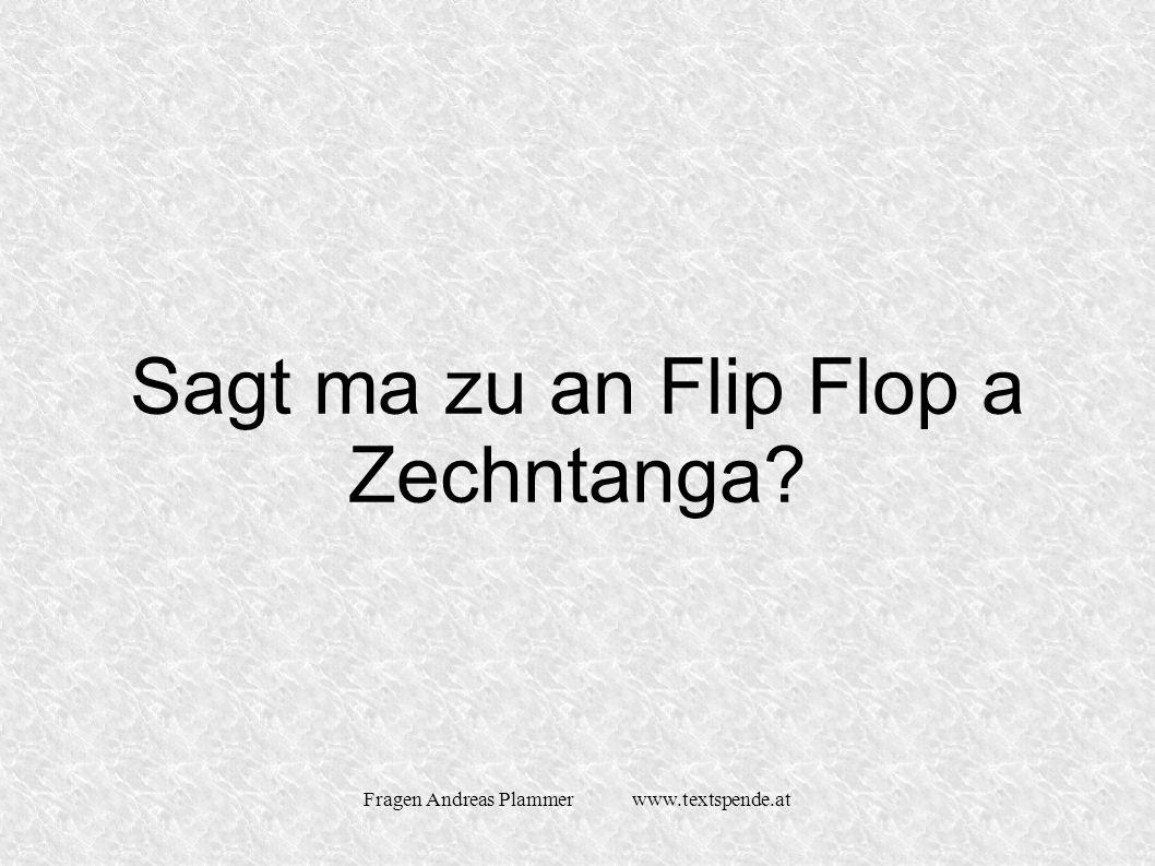 Fragen Andreas Plammer www.textspende.at Sagt ma zu an Flip Flop a Zechntanga