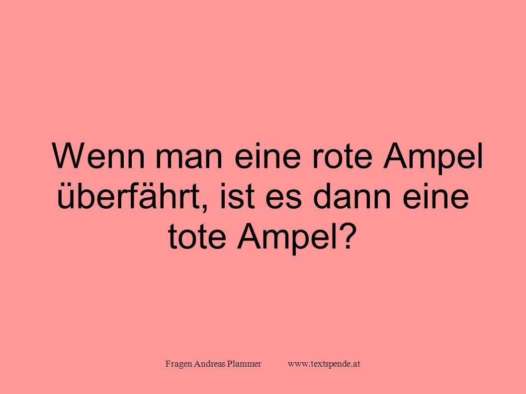 Fragen Andreas Plammer www.textspende.at Wenn man eine rote Ampel überfährt, ist es dann eine tote Ampel