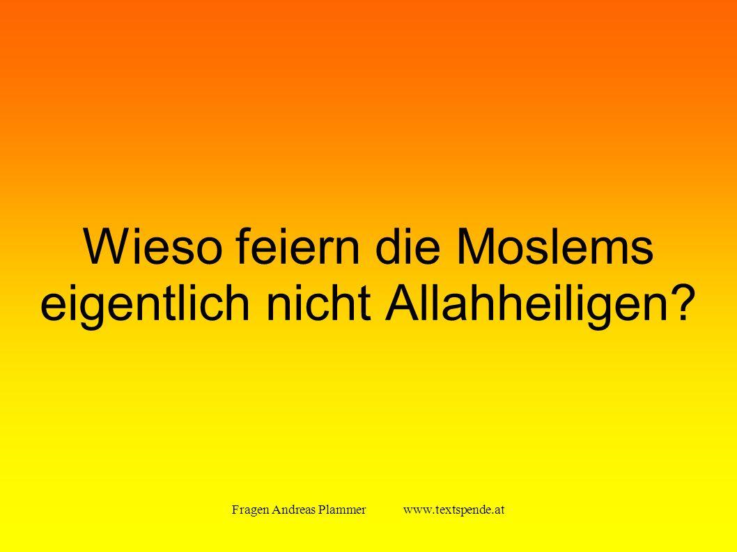 Fragen Andreas Plammer www.textspende.at Wieso feiern die Moslems eigentlich nicht Allahheiligen