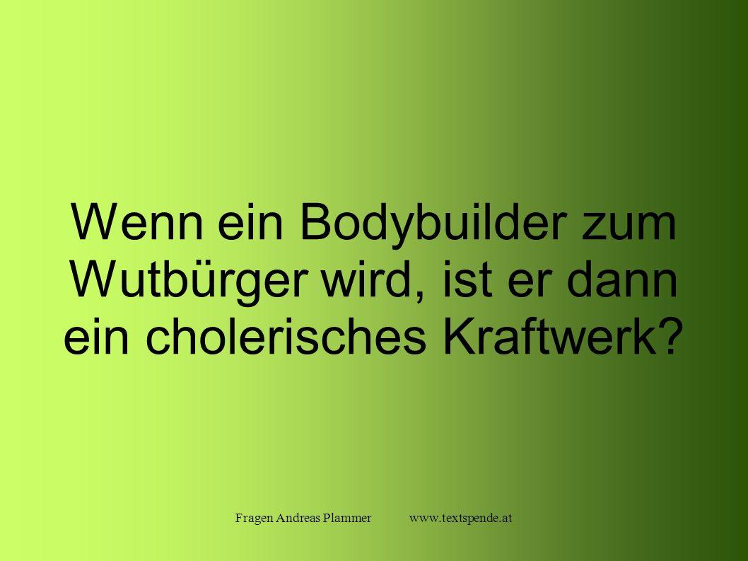 Fragen Andreas Plammer www.textspende.at Wenn ein Bodybuilder zum Wutbürger wird, ist er dann ein cholerisches Kraftwerk