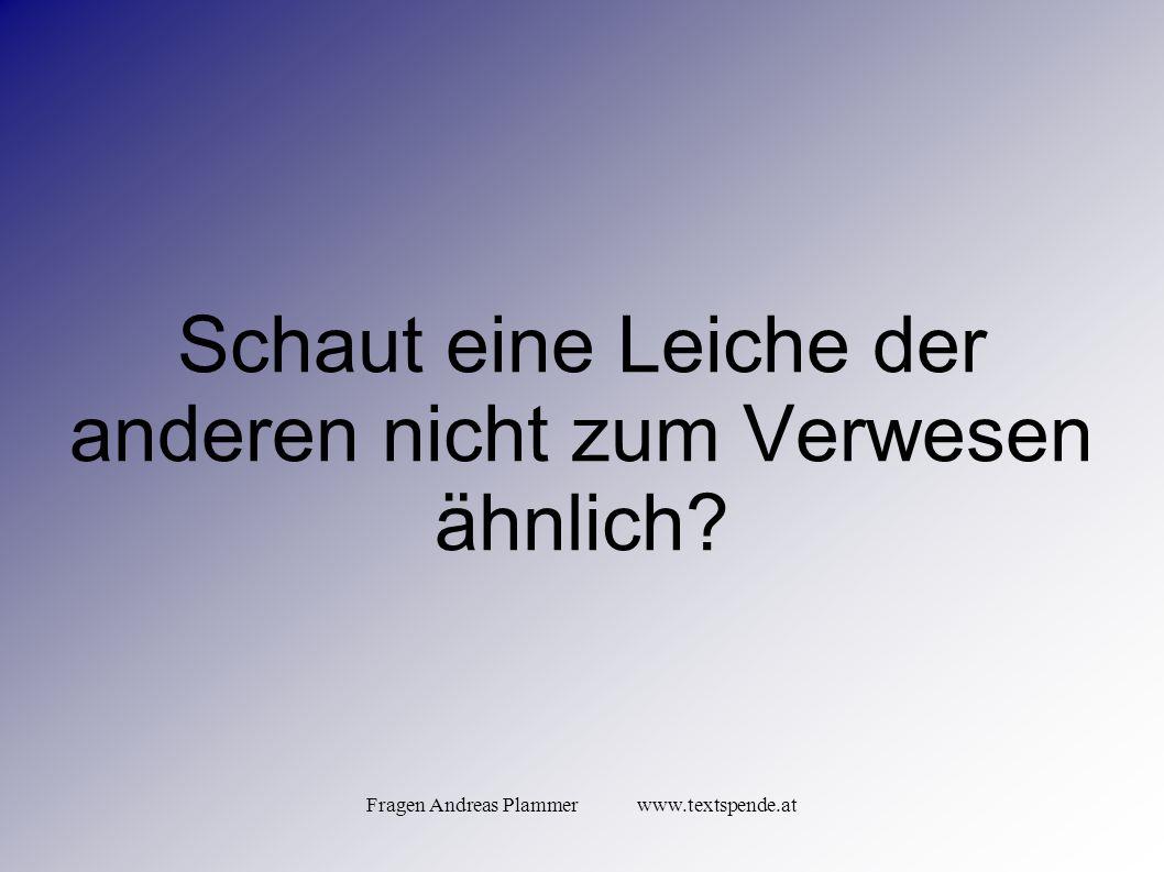 Fragen Andreas Plammer www.textspende.at Schaut eine Leiche der anderen nicht zum Verwesen ähnlich