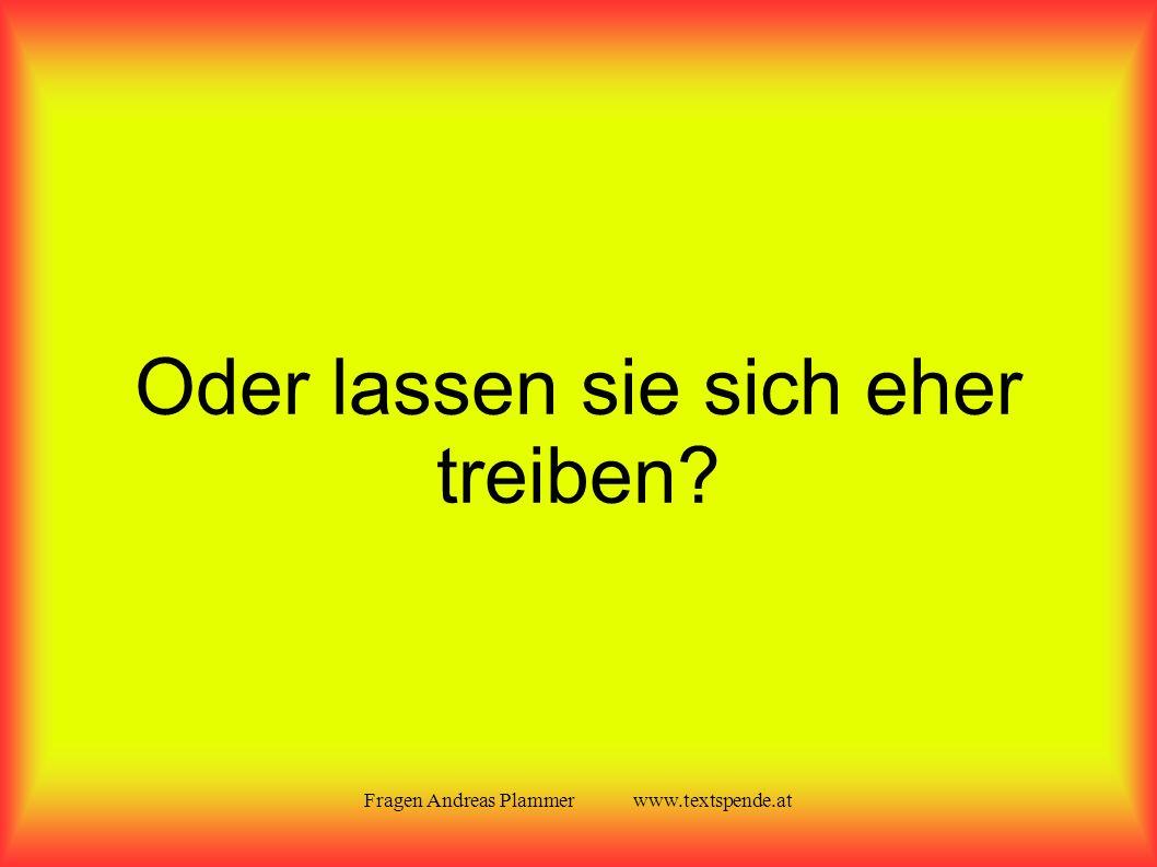 Fragen Andreas Plammer www.textspende.at Oder lassen sie sich eher treiben