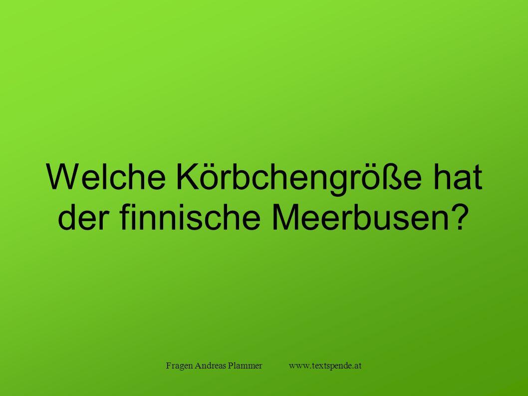 Fragen Andreas Plammer www.textspende.at Welche Körbchengröße hat der finnische Meerbusen