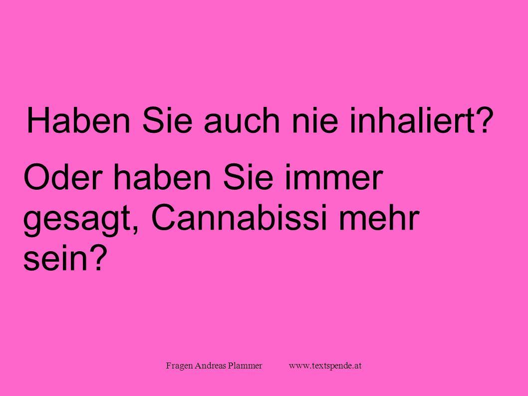 Fragen Andreas Plammer www.textspende.at Haben Sie auch nie inhaliert.