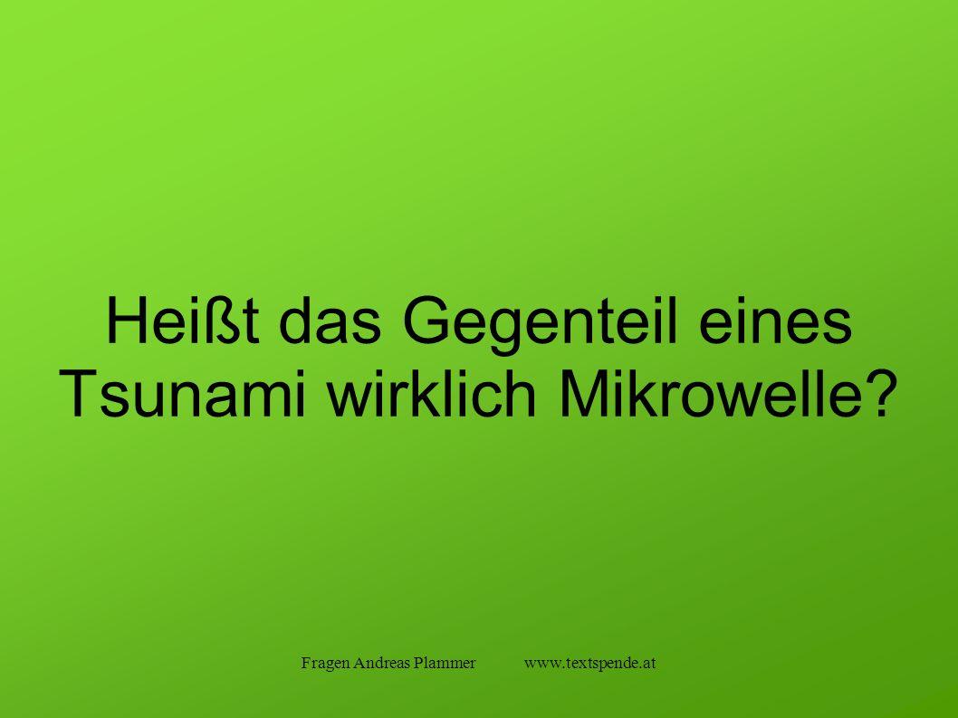 Fragen Andreas Plammer www.textspende.at Heißt das Gegenteil eines Tsunami wirklich Mikrowelle