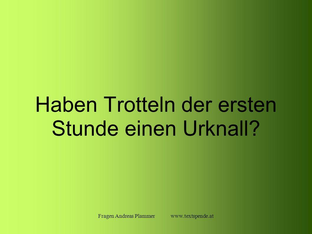 Fragen Andreas Plammer www.textspende.at Haben Trotteln der ersten Stunde einen Urknall