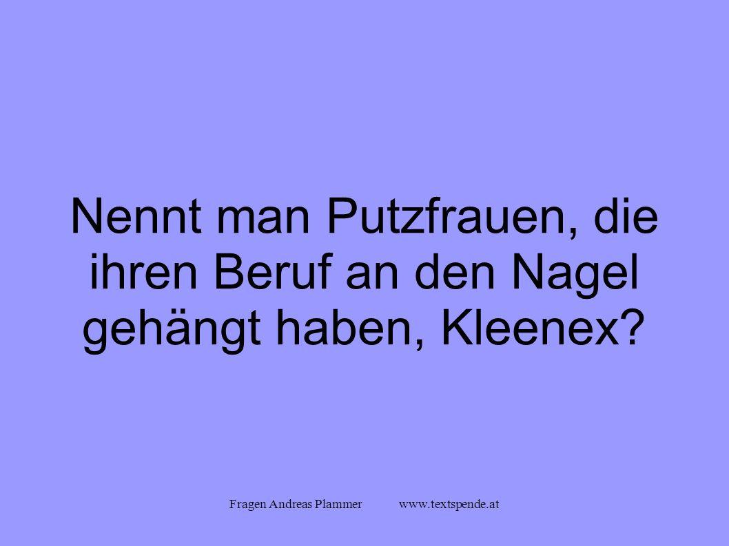 Fragen Andreas Plammer www.textspende.at Nennt man Putzfrauen, die ihren Beruf an den Nagel gehängt haben, Kleenex