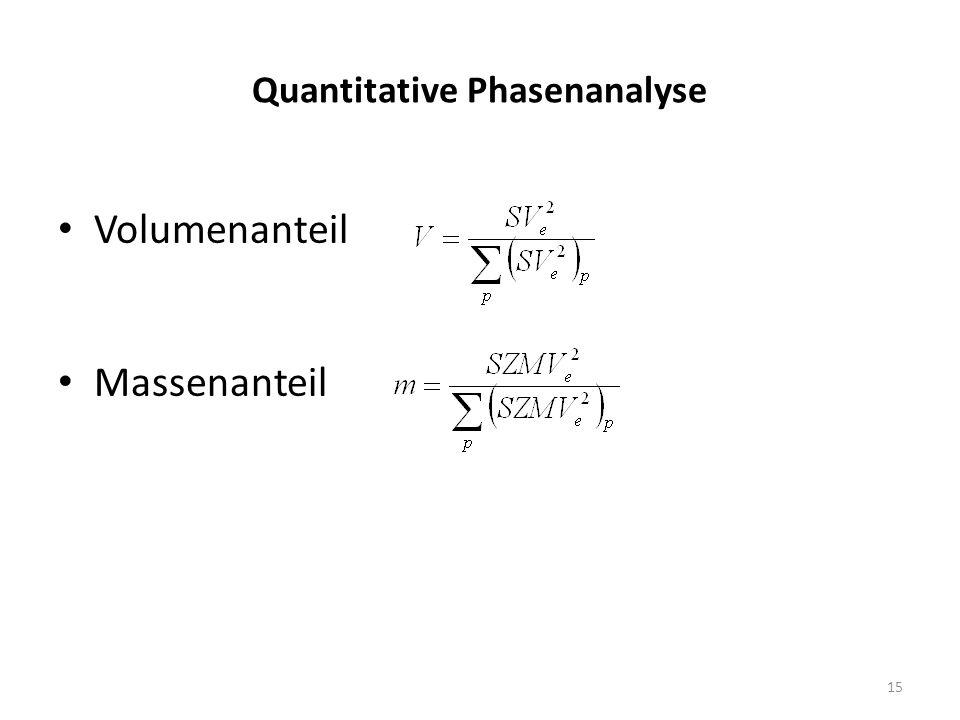 15 Quantitative Phasenanalyse Volumenanteil Massenanteil