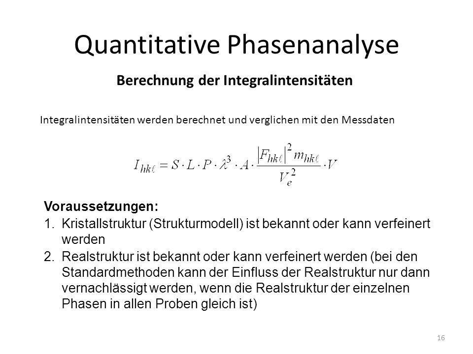 16 Quantitative Phasenanalyse Berechnung der Integralintensitäten Integralintensitäten werden berechnet und verglichen mit den Messdaten Voraussetzung