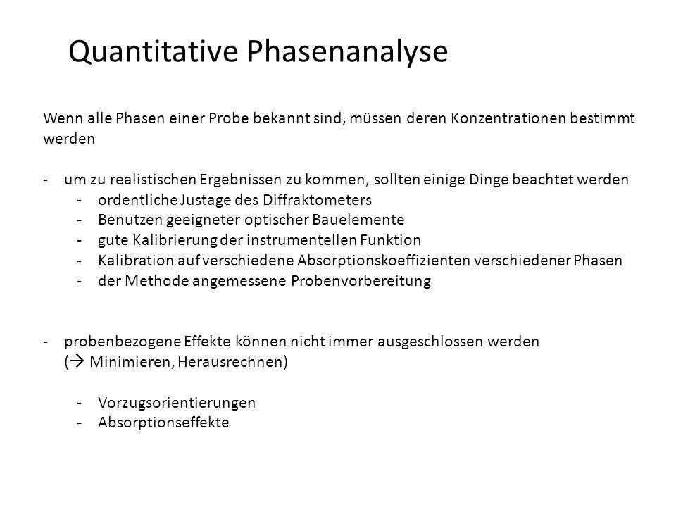 Quantitative Phasenanalyse Wenn alle Phasen einer Probe bekannt sind, müssen deren Konzentrationen bestimmt werden -um zu realistischen Ergebnissen zu