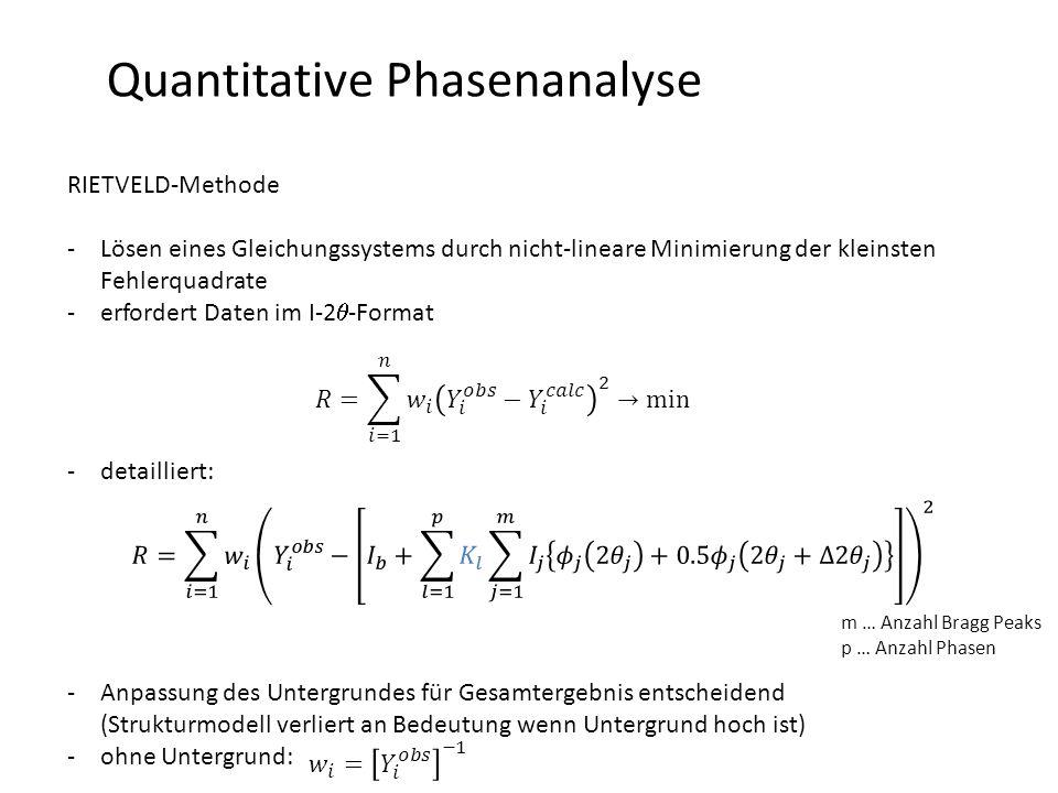 Quantitative Phasenanalyse RIETVELD-Methode -Lösen eines Gleichungssystems durch nicht-lineare Minimierung der kleinsten Fehlerquadrate -erfordert Daten im I-2  -Format -detailliert: -Anpassung des Untergrundes für Gesamtergebnis entscheidend (Strukturmodell verliert an Bedeutung wenn Untergrund hoch ist) -ohne Untergrund: m … Anzahl Bragg Peaks p … Anzahl Phasen
