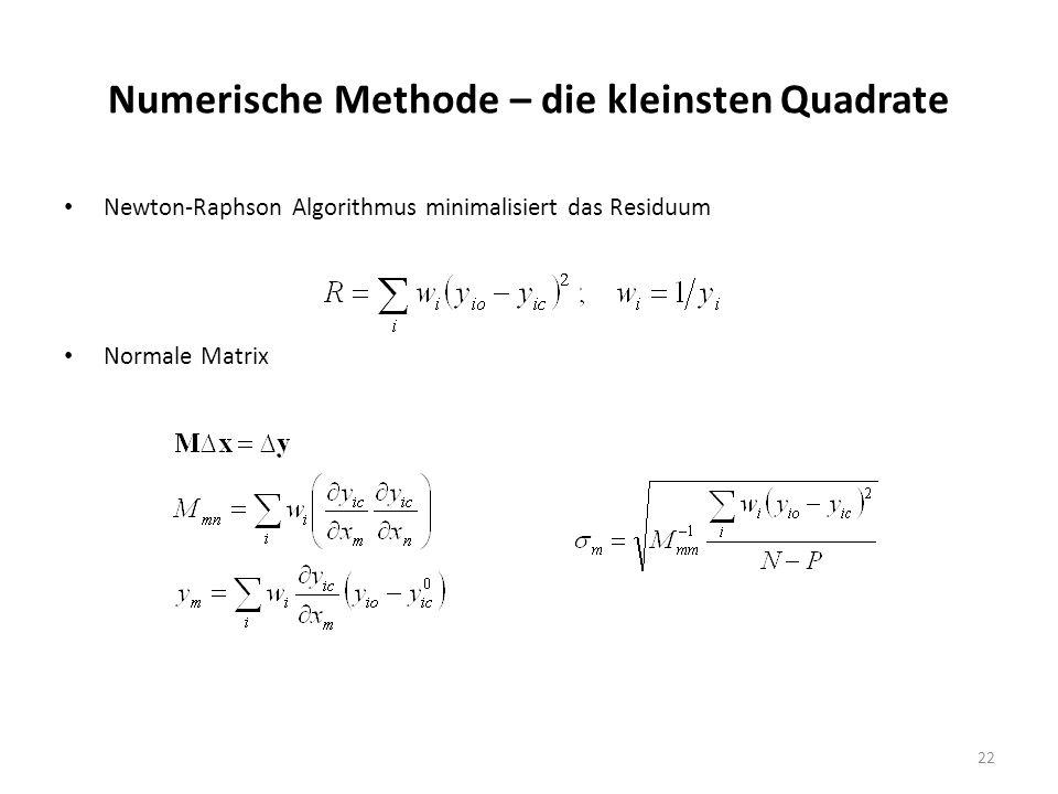 22 Numerische Methode – die kleinsten Quadrate Newton-Raphson Algorithmus minimalisiert das Residuum Normale Matrix