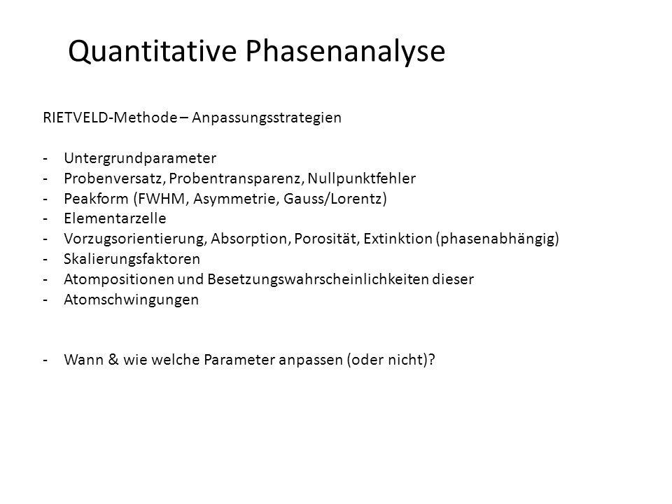 Quantitative Phasenanalyse RIETVELD-Methode – Anpassungsstrategien -Untergrundparameter -Probenversatz, Probentransparenz, Nullpunktfehler -Peakform (FWHM, Asymmetrie, Gauss/Lorentz) -Elementarzelle -Vorzugsorientierung, Absorption, Porosität, Extinktion (phasenabhängig) -Skalierungsfaktoren -Atompositionen und Besetzungswahrscheinlichkeiten dieser -Atomschwingungen -Wann & wie welche Parameter anpassen (oder nicht)