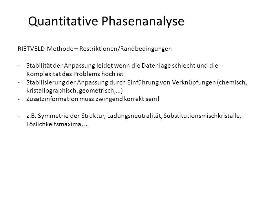 Quantitative Phasenanalyse RIETVELD-Methode – Restriktionen/Randbedingungen -Stabilität der Anpassung leidet wenn die Datenlage schlecht und die Kompl