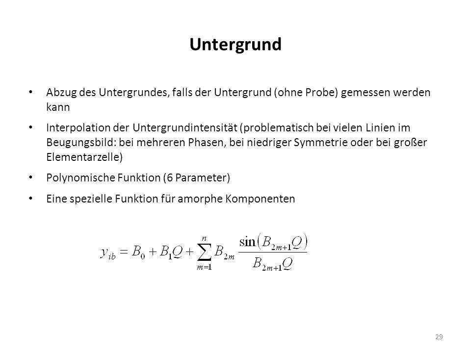 29 Untergrund Abzug des Untergrundes, falls der Untergrund (ohne Probe) gemessen werden kann Interpolation der Untergrundintensität (problematisch bei vielen Linien im Beugungsbild: bei mehreren Phasen, bei niedriger Symmetrie oder bei großer Elementarzelle) Polynomische Funktion (6 Parameter) Eine spezielle Funktion für amorphe Komponenten