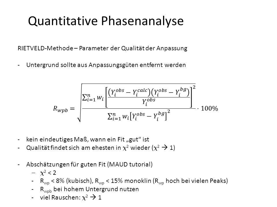 """Quantitative Phasenanalyse RIETVELD-Methode – Parameter der Qualität der Anpassung -Untergrund sollte aus Anpassungsgüten entfernt werden -kein eindeutiges Maß, wann ein Fit """"gut ist -Qualität findet sich am ehesten in  2 wieder (  2  1) -Abschätzungen für guten Fit (MAUD tutorial)  2 < 2 -R wp < 8% (kubisch), R wp < 15% monoklin (R wp hoch bei vielen Peaks) -R wpb bei hohem Untergrund nutzen -viel Rauschen:  2  1"""