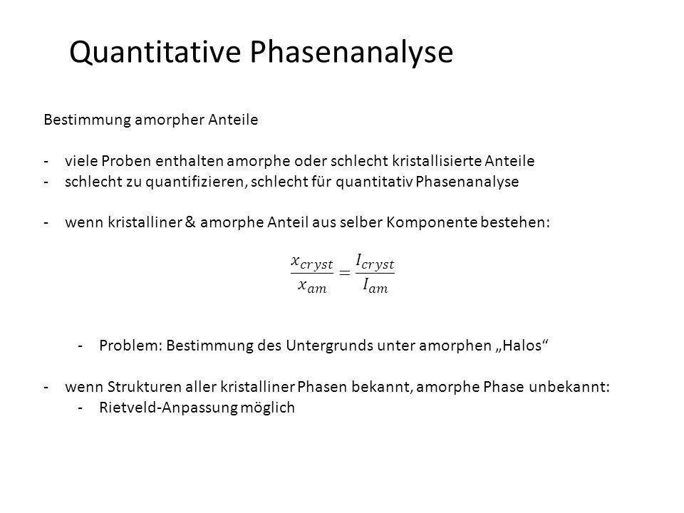 Quantitative Phasenanalyse Bestimmung amorpher Anteile -viele Proben enthalten amorphe oder schlecht kristallisierte Anteile -schlecht zu quantifizier