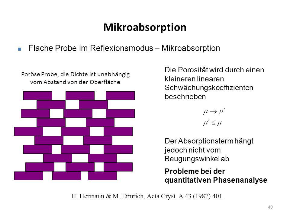 40 Mikroabsorption Flache Probe im Reflexionsmodus – Mikroabsorption Die Porosität wird durch einen kleineren linearen Schwächungskoeffizienten beschrieben Der Absorptionsterm hängt jedoch nicht vom Beugungswinkel ab Probleme bei der quantitativen Phasenanalyse Poröse Probe, die Dichte ist unabhängig vom Abstand von der Oberfläche H.