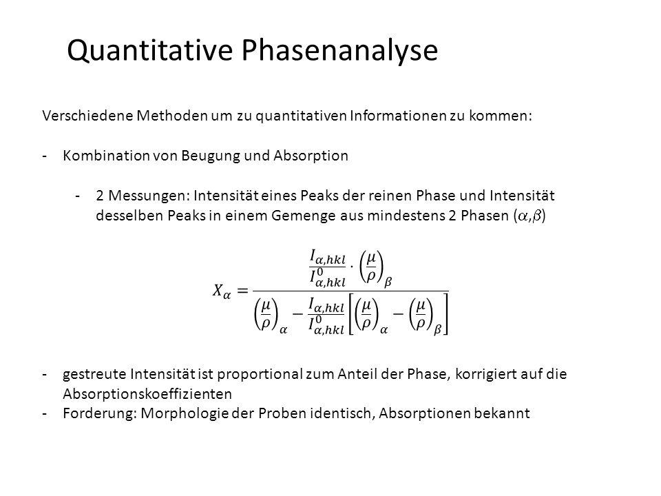 Quantitative Phasenanalyse Verschiedene Methoden um zu quantitativen Informationen zu kommen: -Kombination von Beugung und Absorption -2 Messungen: Intensität eines Peaks der reinen Phase und Intensität desselben Peaks in einem Gemenge aus mindestens 2 Phasen ( ,  ) -gestreute Intensität ist proportional zum Anteil der Phase, korrigiert auf die Absorptionskoeffizienten -Forderung: Morphologie der Proben identisch, Absorptionen bekannt